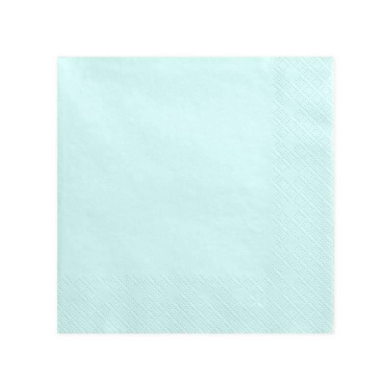 Serviettes 3 couches turquoise pâle 40x40cm