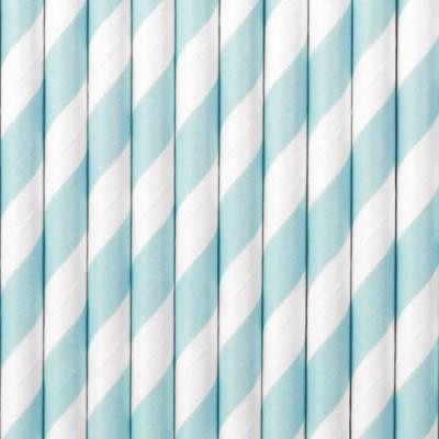 Pailles en papier bleu clair 195 cm