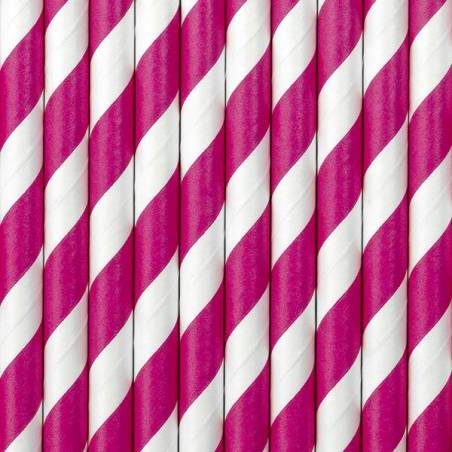 Pailles en papier rose foncé 195 cm