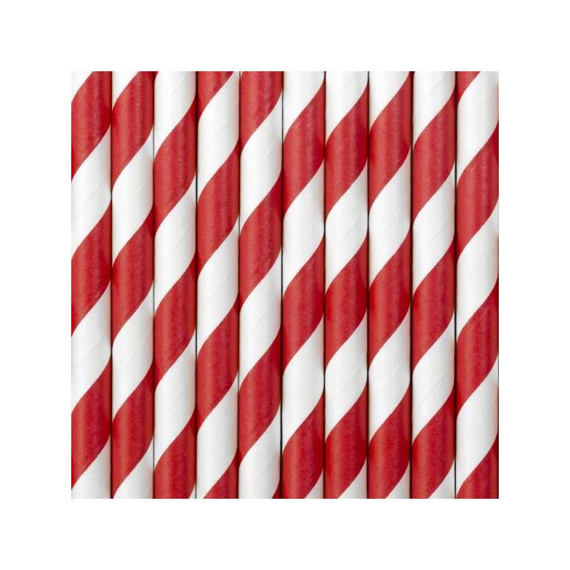 Pailles en papier rouge 195 cm