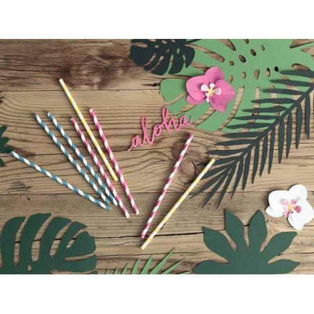 Pailles en papier turquoise 195 cm