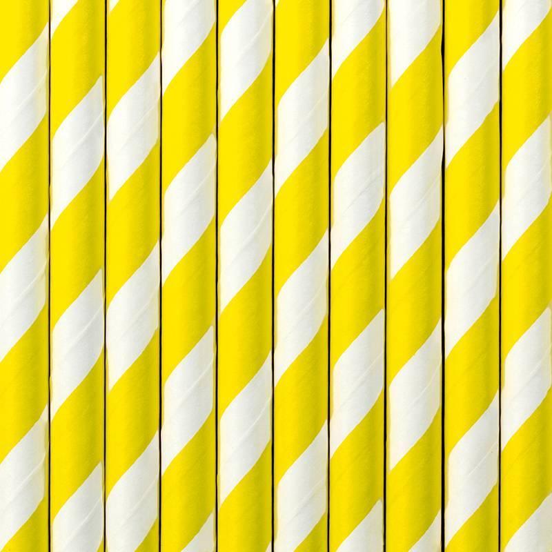 Pailles en papier jaune 195 cm
