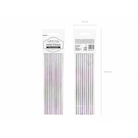 Pailles en papier irisées 195 cm