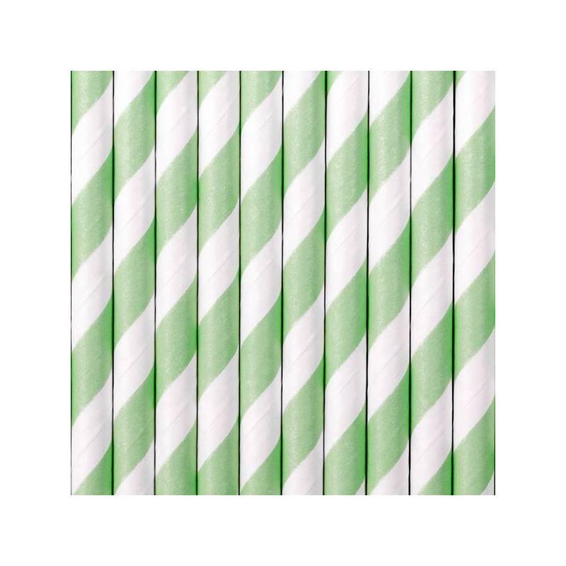 Pailles en papier menthe 195 cm