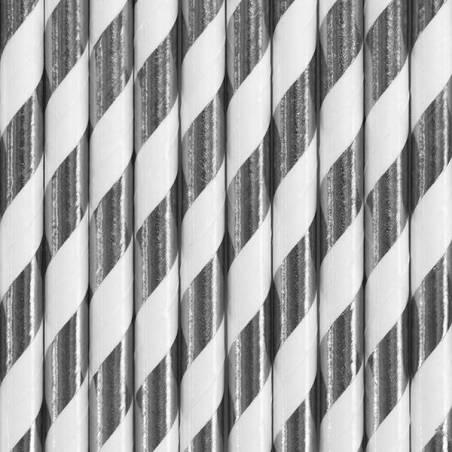 Pailles en papier argent 195 cm
