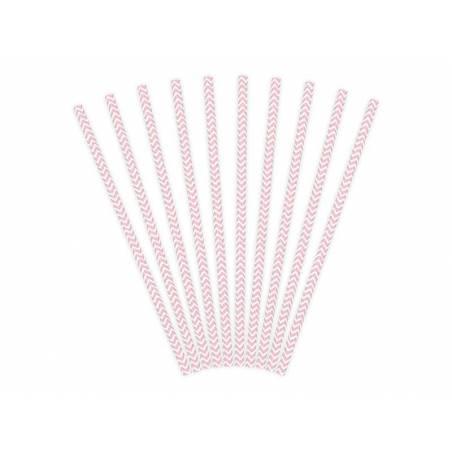 Pailles en papier rose pâle 195 cm