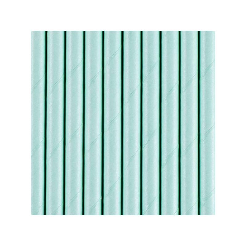 Pailles en papier bleu ciel 195 cm