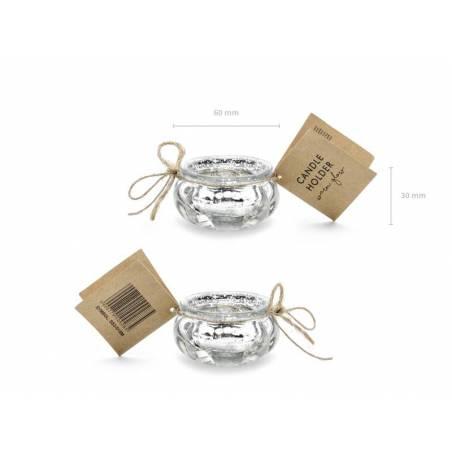 Porte-bougie argent 3cm