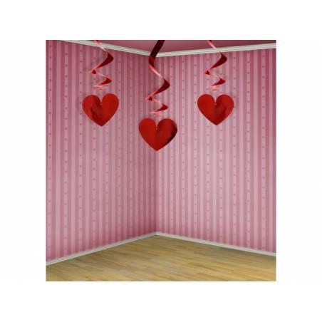 Cœurs tourbillonnants rouge 60 cm